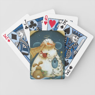 Primitive Snowman Angel Playing Cards