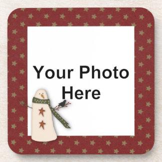 Primitive Snowman Custom Photo Cork Coaster