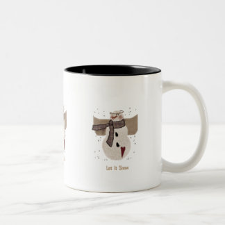 Primitive Snowman, Let it Snow Two-Tone Coffee Mug