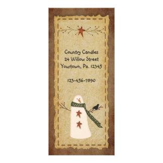 Primitive Snowman Rack Card