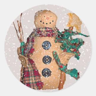 Primitive Snowman Sticker