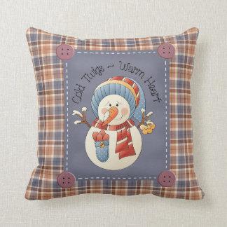 Primitive Snowman Winter Pillow
