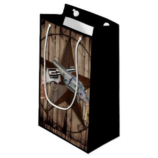 Primitive texas star western country cowboy pistol small gift bag