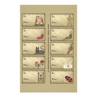 Primitive Things Gift Tags on a Sheet - D5 14 Cm X 21.5 Cm Flyer