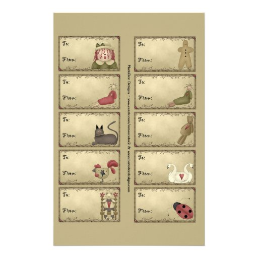 Primitive Things Gift Tags on a Sheet - D5 Flyer