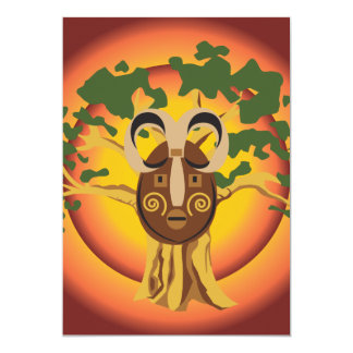 "Primitive Tribal Mask on Balboa Tree Glowing Sun 5"" X 7"" Invitation Card"