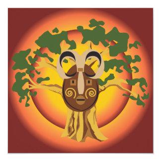 "Primitive Tribal Mask on Balboa Tree Glowing Sun 5.25"" Square Invitation Card"