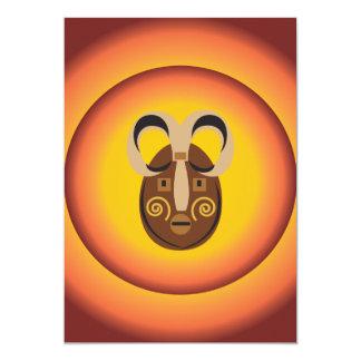 "Primitive Tribal Mask Sun Glow Design 5"" X 7"" Invitation Card"