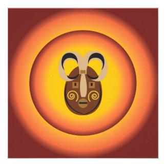Primitive Tribal Mask Sun Glow Design Custom Invitation