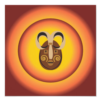 Primitive Tribal Mask Sun Glow Design 13 Cm X 13 Cm Square Invitation Card