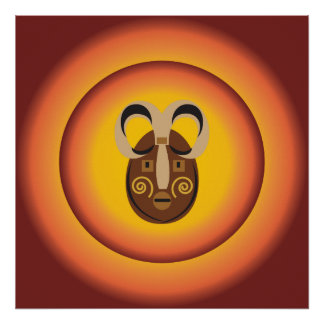Primitive Tribal Mask Sun Glow Design Posters