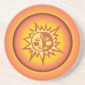 Primitive Tribal Sun Design Red Orange Glow Drink Coaster