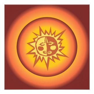Primitive Tribal Sun Design Red Orange Glow Invites