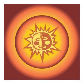 Primitive Tribal Sun Design Red Orange Glow 5.25x5.25 Square Paper Invitation Card