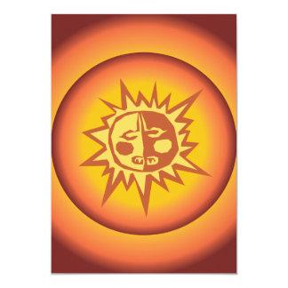 "Primitive Tribal Sun Design Red Orange Glow 5"" X 7"" Invitation Card"