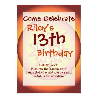 Primitive Tribal Sun Design Red Orange Glow 11 Cm X 16 Cm Invitation Card