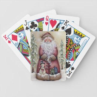 Primitive Vintage Santa Snowman Playing Cards