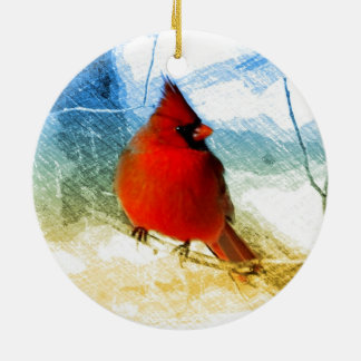 Primitive western country christmas red cardinal christmas ornament