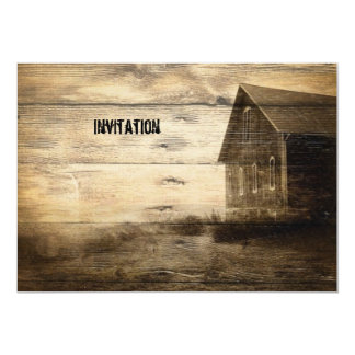 primitive western country old barn farmhouse cabin card