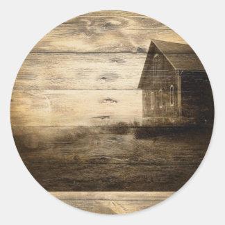 primitive western country old barn farmhouse cabin round sticker