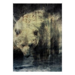 Primitive Western Woodgrain Woodland Grizzly Bear Poster
