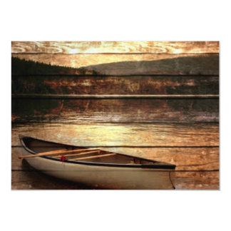 Primitive Wood grain reflection Lake House Canoe Card