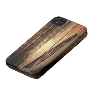 Primitive Wood grain reflection Lake House Canoe Case-Mate iPhone 4 Cases