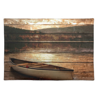 Primitive Wood grain reflection Lake House Canoe Placemat