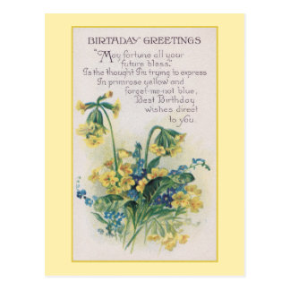 Primrose and Forget-Me-Not Vintage Birthday Post Cards