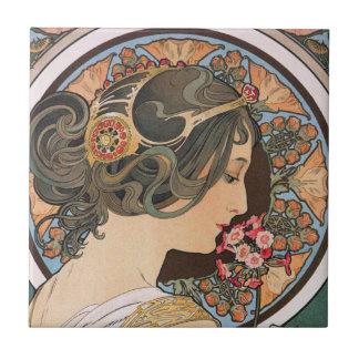 Primrose by Alphonse Mucha - Vintage Art Nouveau Tile