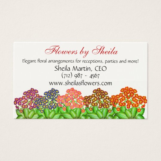 Primrose Flower Garden Business Card
