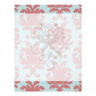 primrose red and muted aqua damask personalized flyer