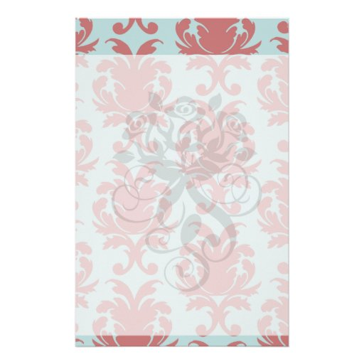 primrose red and muted aqua damask custom stationery