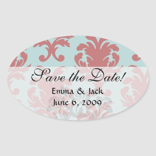 primrose red and muted aqua damask oval stickers