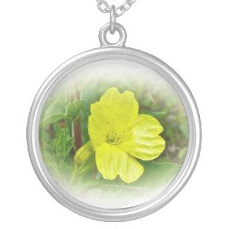 Primrose Yellow Wildflower Coordinating Items Round Pendant Necklace