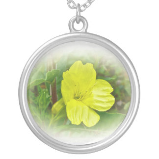 Primrose Yellow Wildflower Coordinating Items Round Pendant Necklace