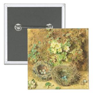 Primroses and Birds' Nests 15 Cm Square Badge