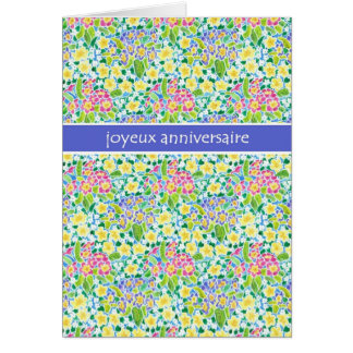 Primroses Birthday Card, French Greeting Card