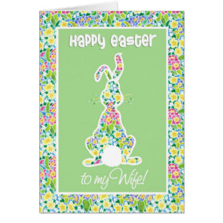 Primroses Cute Bunny Rabbit Easter Card for Wife