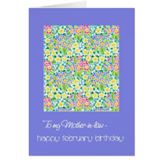 Primroses February Birthday Card Mother-in-law