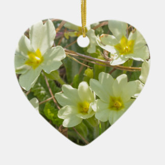 primroses in the meadow in spring ceramic heart decoration