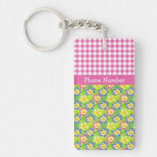 Primroses Keychain to Personalize: Pink Gingham