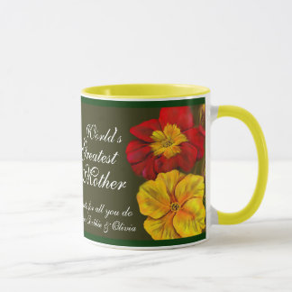 Primula floral art World's Greatest Mother mug