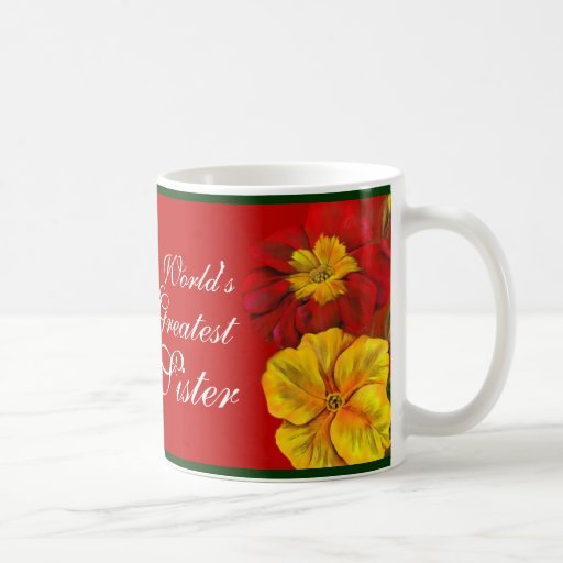 Primula floral art World's Greatest Sister red mug