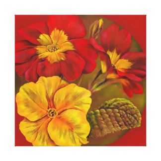 Primula floral red canvas fine art wrap print gallery wrapped canvas