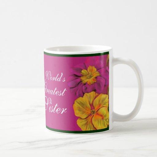 Primula floral World's Greatest Sister mauve mug