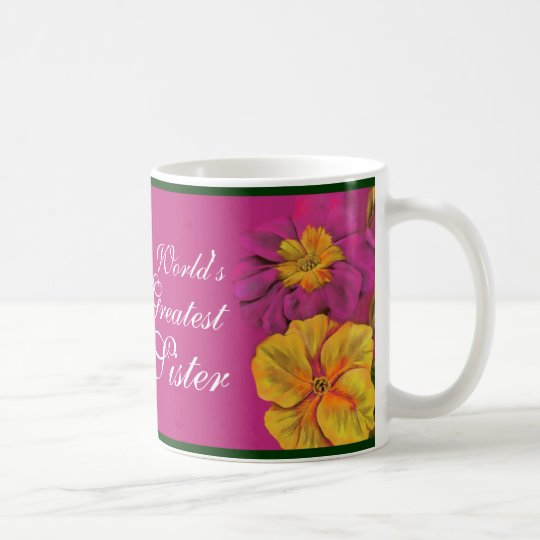 Primula floral World's Greatest Sister mauve mug