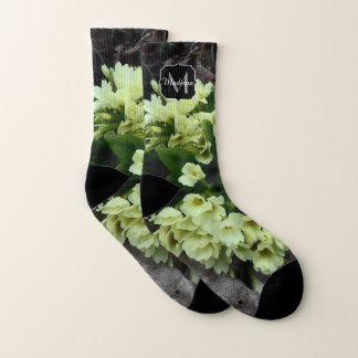 Primula vulgaris Primroses in dry leaves Monogram Socks