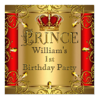 "Prince 1st Birthday Boy Red Gold Crown 2 5.25"" Square Invitation Card"