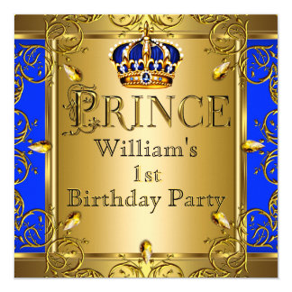 Prince 1st Birthday Boy Royal Blue Gold Crown 2 13 Cm X 13 Cm Square Invitation Card